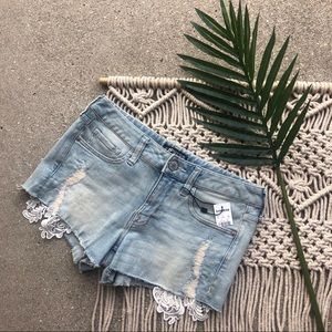 New Express Jean Shorts Distressed Crochet Size 00